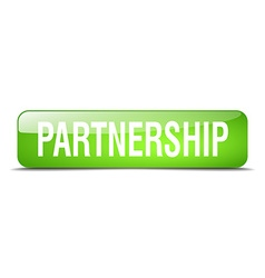 Partnership green square 3d realistic isolated web vector