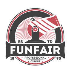 Professional funfair show vintage isolated label vector