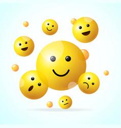 Realistic detailed 3d falling emoji sign vector