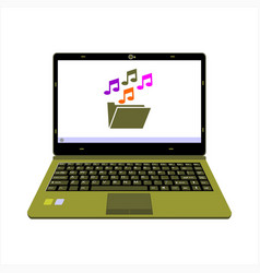 realistic laptop display music media player vector image