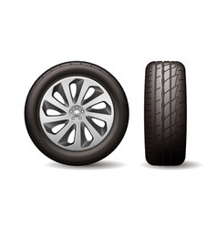 realistic shining disk car wheel tyre isolated vector image
