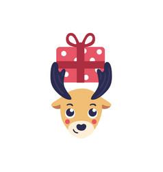reindeer head holding vector image