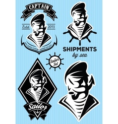 sea captain with a mustache for design vector image