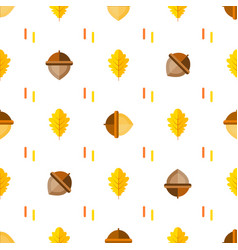Seamless symmetrical pattern with acorns and vector