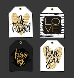 set of 4 romantic labels vector image