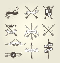 Set of coat of arms with bow arrows - emblems vector