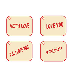 set of labels as gift tag for present flower vector image