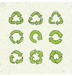 Set of sketch doodle recycle reuse symbol vector