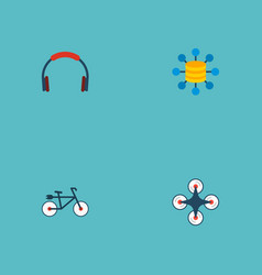 set of trendy icons flat style symbols with drone vector image