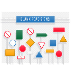 set signpost sign road and guidepost vector image