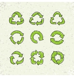 set sketch doodle recycle reuse symbol vector image