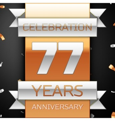 Seventy seven years anniversary celebration golden vector
