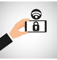 Smartphone security lock internet wifi icon vector