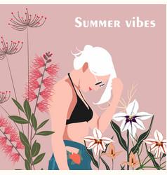 summer cute a woman in bikin vector image