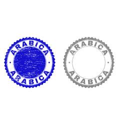 Textured arabica scratched stamp seals vector