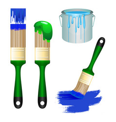 Thick brushes and bucket full of paint set vector