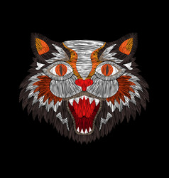 Tiger cat fashion embroidery vector