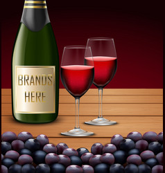 Two wineglass and bottles of champagne vector