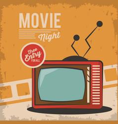 Vintage movie night television card concept vector