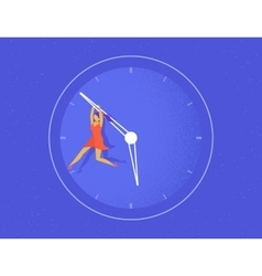 Woman hangs on the big arrow of the life watch vector