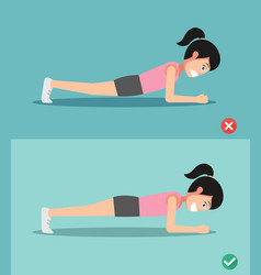Wrong and right plank posture vector