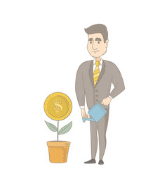 Young caucasian businessman watering money flower vector