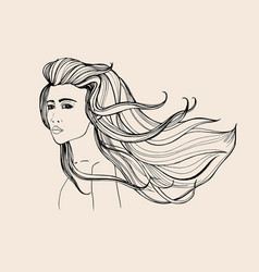fashion portrait beautiful girl with long flowing vector image