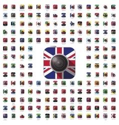 icon camera flag vector image
