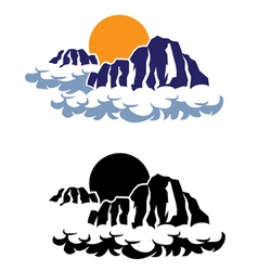 Mountains in the clouds vector image vector image
