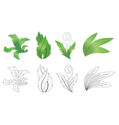 set of green and black plants vector image