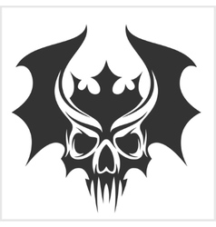 skull with bat wings and a crown vector image