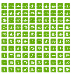 100 children icons set grunge green vector image