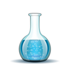 Chemical laboratory transparent flask with blue vector image vector image