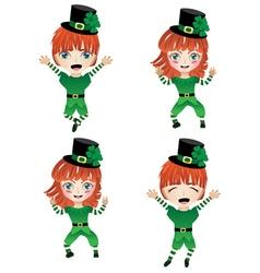 Children Dressed in Elf Costume2 vector image vector image