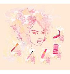 Make-up girl - poster vector image
