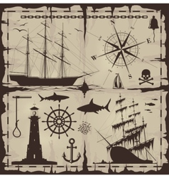 nautical design elements vector image vector image