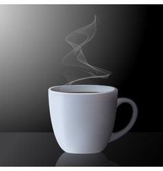 Realistic cup of hot tea or coffee with smoke vector image