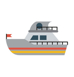 ship sideview with flag icon image vector image