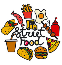 street food cover vector image vector image