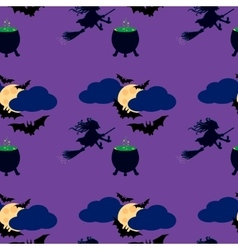 Witch and moon seamless pattern vector image vector image