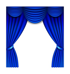 Blue window curtains isolated on white vector image vector image