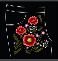 Poppy embroidery stitches for jeans vector