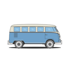 retro camper blue bus for your design vector image