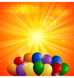 Abstract orange background with sun and balloons vector image vector image
