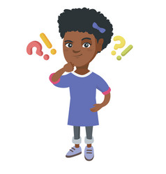 girl standing under question and exclamation marks vector image vector image