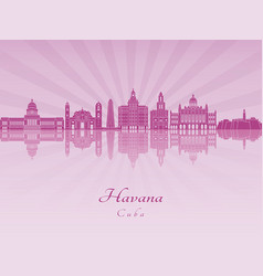 havana v2 skyline in purple radiant orchid vector image vector image