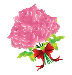 Pink roses with bow vector image