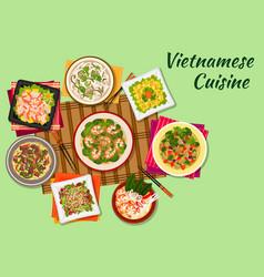Vietnamese cuisine oriental dishes icon vector image