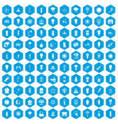 100 light source icons set blue vector
