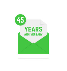 45 years anniversary missive in dark green letter vector image